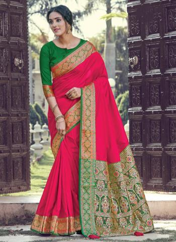 Rani Silk Festival Wear Weaving Saree
