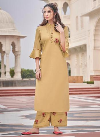 Beige Majic Club Casual Wear Embroidery Work Kurti With Pant