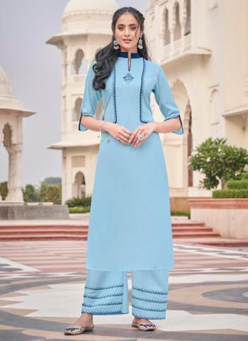 Blue Majic Club Casual Wear Embroidery Work Kurti With Pant