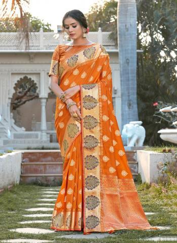 Orange Silk Traditional Wear Weaving Saree