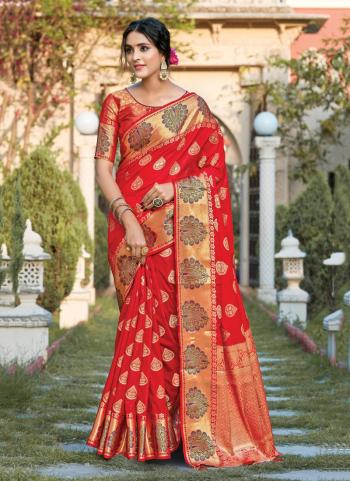 Red Silk Traditional Wear Weaving Saree