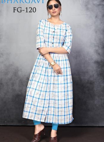Blue Slub Cotton Daily Wear Printed Work Kurti