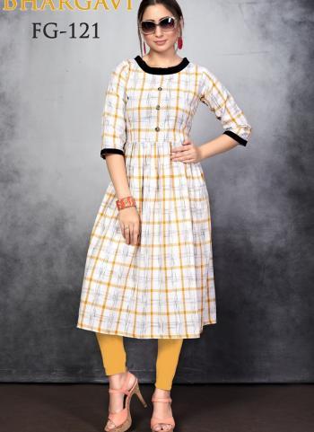 Yellow Slub Cotton Daily Wear Printed Work Kurti