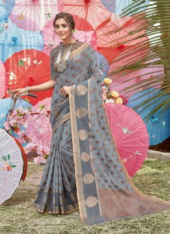 Grey Cotton Traditional Wear Handloom Saree