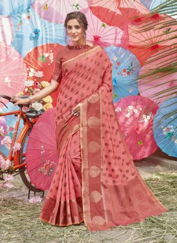 Light Pink Cotton Traditional Wear Handloom Saree