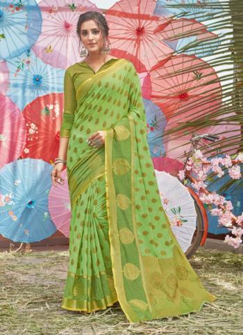 Light green Cotton Traditional Wear Handloom Saree