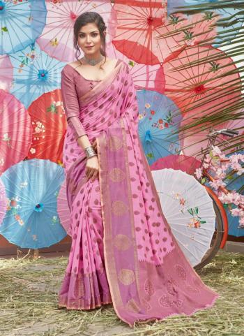 Pink Cotton Traditional Wear Handloom Saree