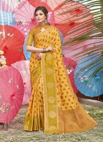 Yellow Cotton Traditional Wear Handloom Saree