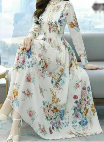 White Georgette Casual Wear Printed Work Gown