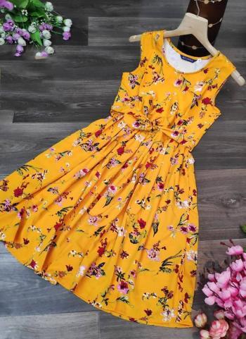 Yellow Crepe Casual Wear Printed Work Top