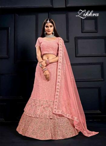 Pink Velvet Wedding Wear Sequins Hand Work Lehenga Choli