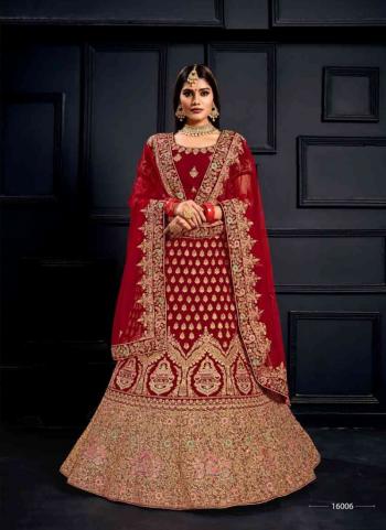 Red Velvet Wedding Wear Sequins Zari Hand Work Lehenga Choli