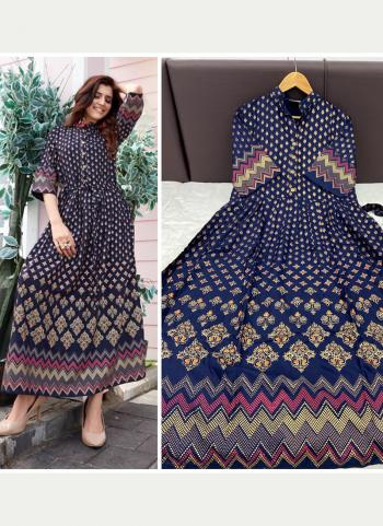 Navy Blue Rayon Casual Wear Foil Printed Long Gown