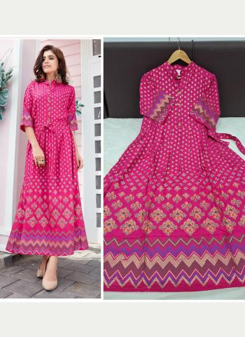 Rani Rayon Casual Wear Foil Printed Long Gown