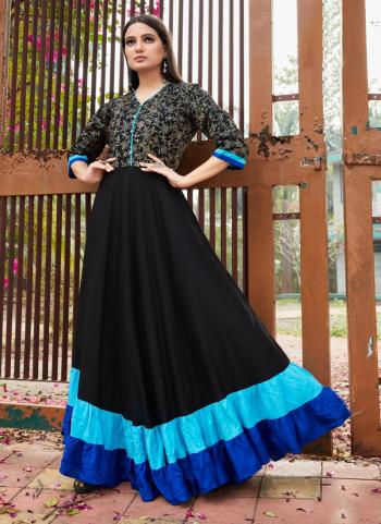 Black Blue Rayon Casual Wear Foil Printed Gown