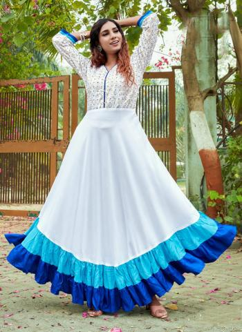 White Blue Rayon Casual Wear Foil Printed Gown