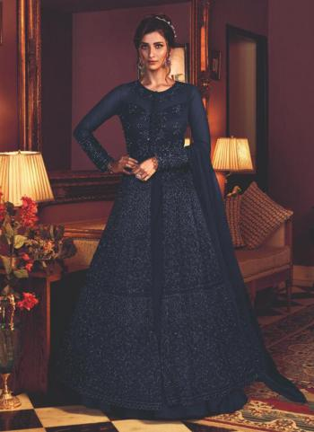Navy Blue Net Wedding Wear Heavy Embroidery Work Anarkali Suit