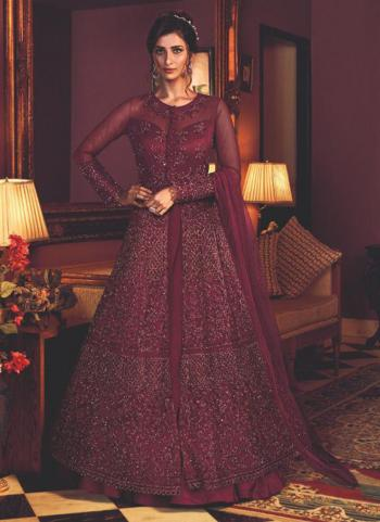 Wine Net Wedding Wear Heavy Embroidery Work Anarkali Suit