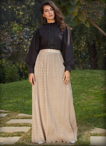 Beige Cotton Party Wear Printed Work Top With Bottom