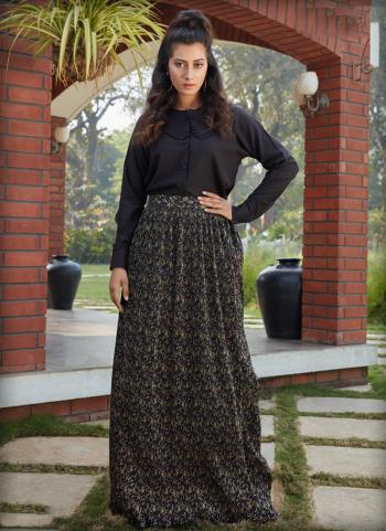 Black Cotton Party Wear Printed Work Top With Bottom