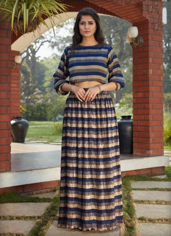 Blue Fancy Party Wear Printed Work Top With Bottom