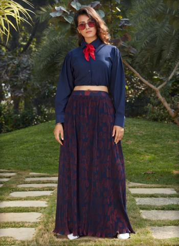 Navy Blue Georgette Party Wear Printed Work Top With Bottom