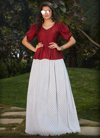White Cotton Silk Party Wear Printed Work Top With Bottom