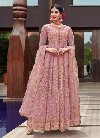 Pink Net Reception Wear Heavy Embroidery Work Anarkali Suit