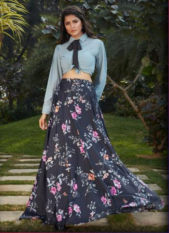 Grey Georgette Party Wear Printed Work Top With Skirt