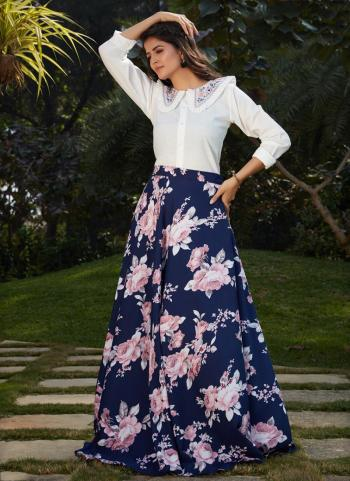 Navy Blue Cotton Party Wear Printed Work Top With Skirt