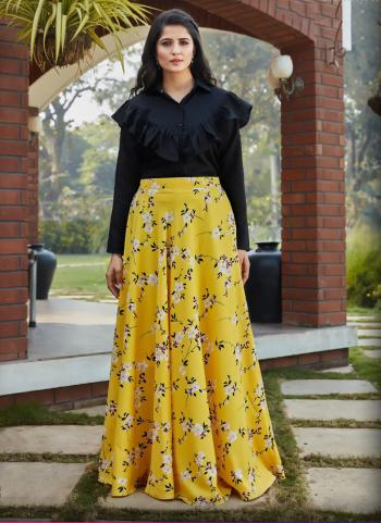 Yellow Cotton Party Wear Printed Work Top With Skirt
