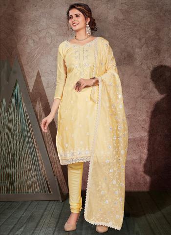 Beige Chanderi Festival Wear Embroidery Work Churidar Suit