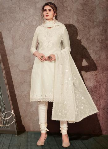 Off White Chanderi Festival Wear Embroidery Work Churidar Suit