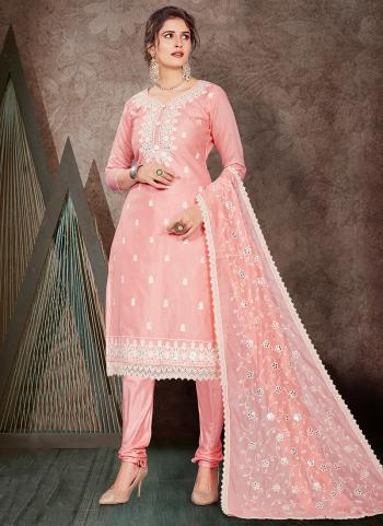 Pink Chanderi Festival Wear Embroidery Work Churidar Suit