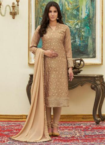 Beige Satin Party Wear Embroidery Work Churidar Suit