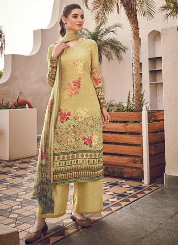 Beige Pure Viscose Traditional Wear Digital Printed Salwar Suit