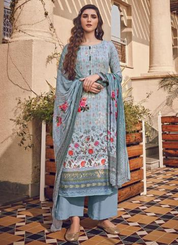 Blue Pure Viscose Traditional Wear Digital Printed Salwar Suit