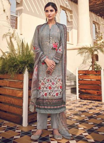 Dark Grey Pure Viscose Traditional Wear Digital Printed Salwar Suit
