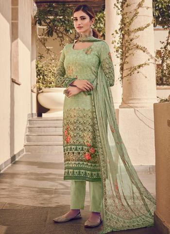 Light Green Pure Viscose Traditional Wear Digital Printed Salwar Suit