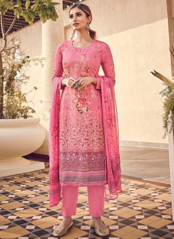 Pink Pure Viscose Traditional Wear Digital Printed Salwar Suit