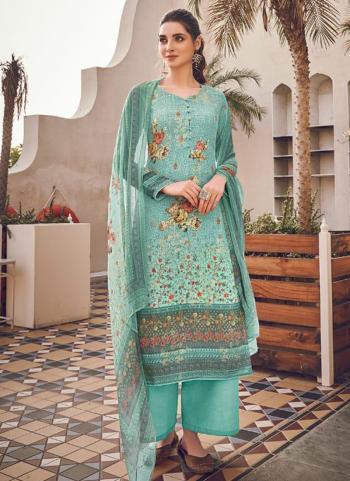 Sky Blue Pure Viscose Traditional Wear Digital Printed Salwar Suit