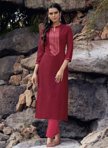 Red Lining Silk Daily Wear Embroidery Work Kurti