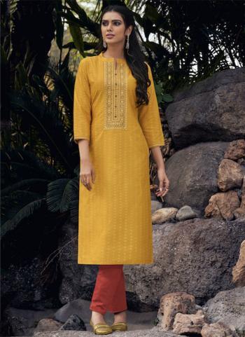 Yellow Lining Silk Daily Wear Embroidery Work Kurti