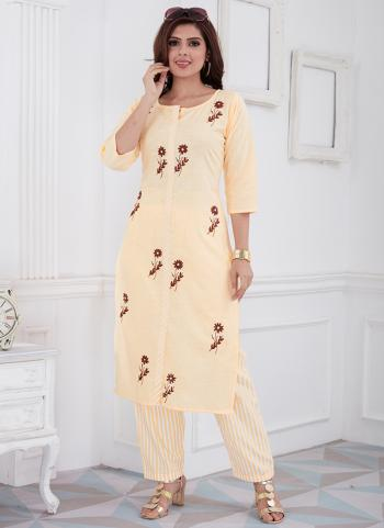 Beige Cotton Daily Wear Embroidery Work Kurti With Pant
