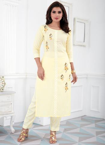 Cream Cotton Daily Wear Embroidery Work Kurti With Pant