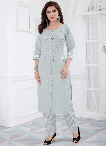 Grey Cotton Daily Wear Embroidery Work Kurti With Pant