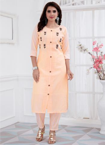Peach Cotton Daily Wear Embroidery Work Kurti With Pant