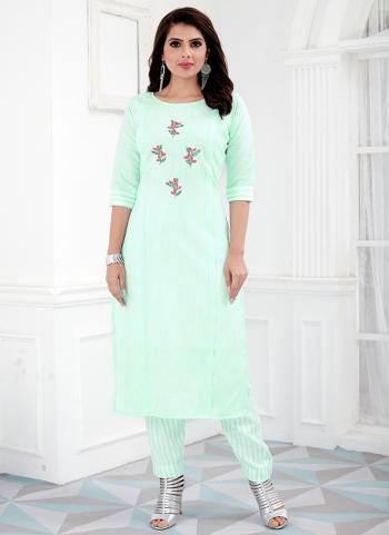Pista Green Cotton Daily Wear Embroidery Work Kurti With Pant