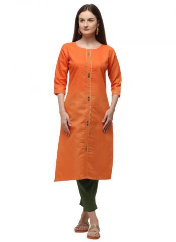 Orange Ruby Cotton Daily Wear Embroidery Work Kurti