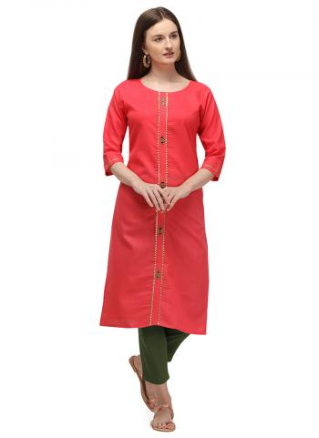 Pink Ruby Cotton Daily Wear Embroidery Work Kurti